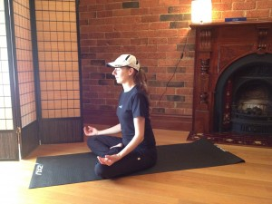 Lady in relaxing yoga Lotus pose